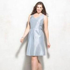 Dressbarn Satin Blue Fit & Flare Dress Size 12 NWT